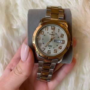 Silver and gold Timex Watch